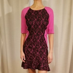 Juicy Couture Pink Black Lace Dress